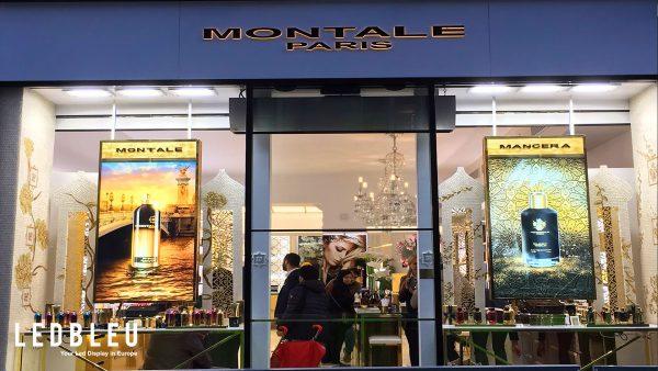 Ecran vitrine très haute luminosité parfumerie Montale Paris France