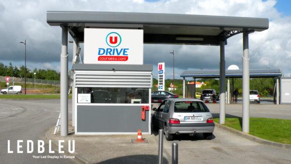 Affichage led station service supermarche Vendée